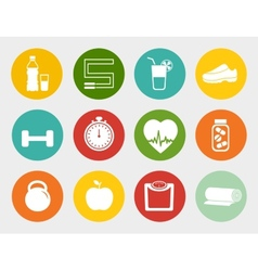 Fitness Flat Icons vector image vector image