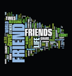 friends are novelties text background word cloud vector image vector image