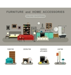 Furniture and home accessories banner vector image