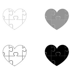 Heart with puzzle the black and grey color set vector