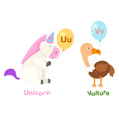 isolated alphabet letter u-unicornv-vulture vector image vector image