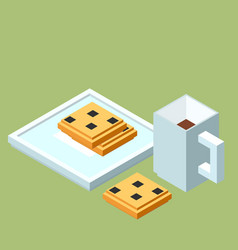 Isometric cup of coffee or tea and chocolate chip vector