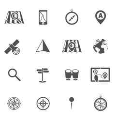 Navigation icon black set vector image