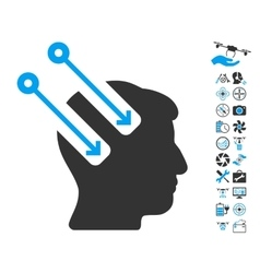 Neural interface icon with copter tools bonus vector