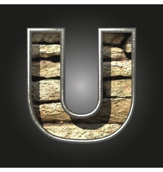 Old stone letter u vector