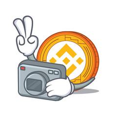 Photographer binance coin mascot catoon vector