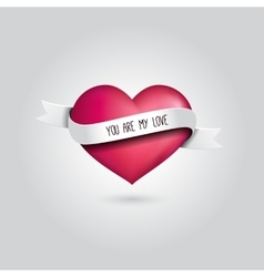 Pink heart with silver ribbon and love vector