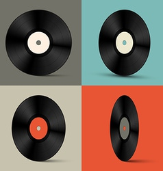 Retro vinyl records set vector