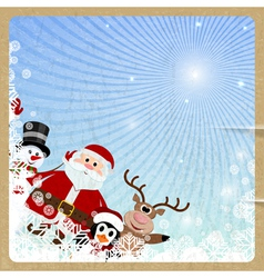 Santa Claus reindeer snowman penguin vector image vector image