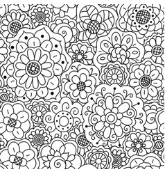 seamless pattern of hand drawn doodle flowers vector image