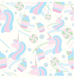 Seamless pattern with unicorn lollipop and vector