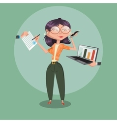Secretary woman at work cartoon vector