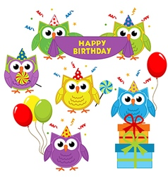 Set of isolated owl birthday vector
