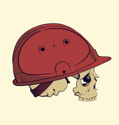 skull in a construction helmet vector image vector image
