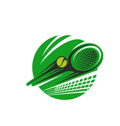 tennis ball and racket sport team club icon vector image vector image