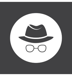 Unknown man in hat and glasses detective spy vector