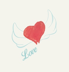 Watercolor heart with wings vector