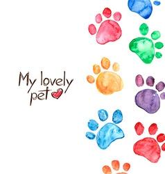Watercolor with animal footprints vector