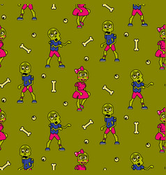 Zombie cartoon teen couple seamless pattern vector