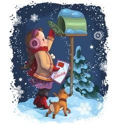 A little girl and her puppy posting a letter to vector