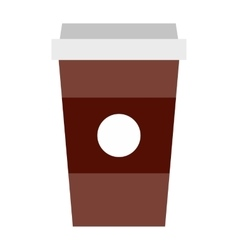 Brown paper cup of coffee icon flat style vector