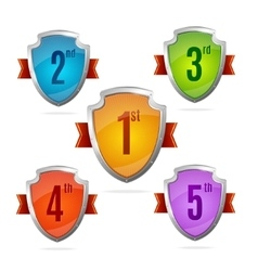 Award shield set with numbers vector
