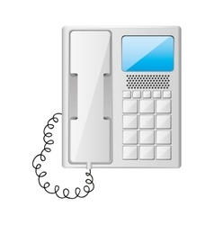 Gray office telephone with wired vector