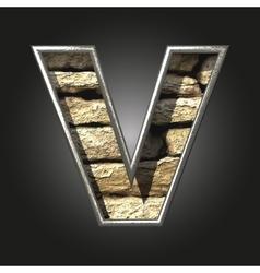Old stone letter v vector