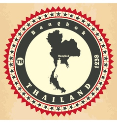 Vintage label-sticker cards of thailand vector