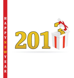 Gift white box for 2013 vector