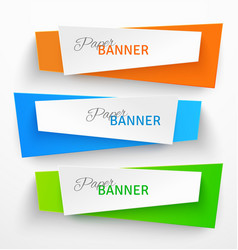 Set of colorful paper origami banners vector