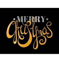 Gold and silver textured text merry christmas vector
