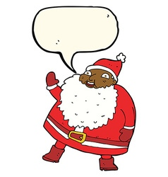 Funny waving santa claus cartoon with speech vector