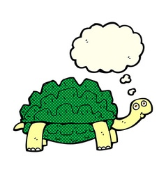 Cartoon tortoise with thought bubble vector