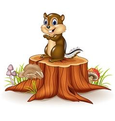 Cartoon chipmunk sitting on tree stump vector image