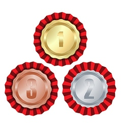 Medals with gold rosette first place second place vector