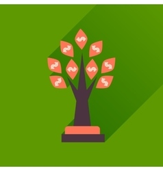 Flat icon with long shadow money tree vector