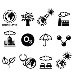 World ozone day ecology climate change icons vector