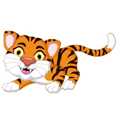 Cute tiger cartoon posing for you design vector