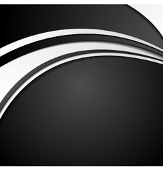 Black and white abstract corporate wavy background vector