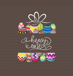Brown paper card with gift easter eggs vector