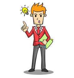Character of businessman with idea vector