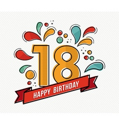 Colorful happy birthday number 18 flat line design vector