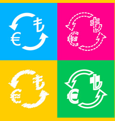 Currency exchange sign euro and turkey lira four vector
