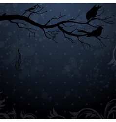 Dark winter background with tree branch and birds vector image vector image
