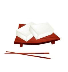 Karukan or saomono gashi on geta plate vector