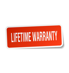 Lifetime warranty square sticker on white vector