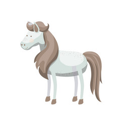 Light colors of white horse with freckles and mane vector