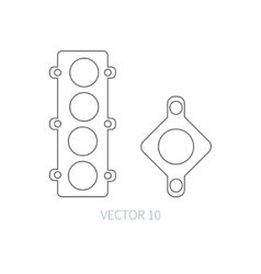 Line flat icon car repair part - gasket vector