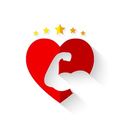Muscular arm on heart shape with crown of stars vector
